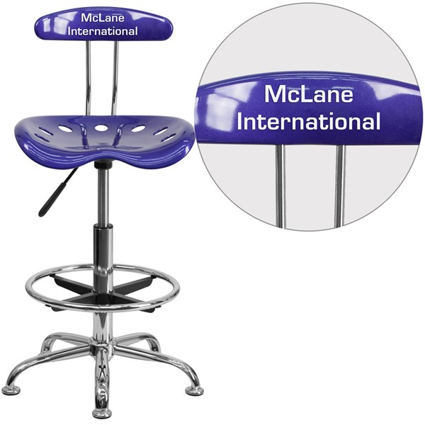 Personalized Vibrant Deep Blue & Chrome Drafting Stool w/Tractor Seat FLF-LF-215-DEEPBLUE-TXTEMB-VYL-GG