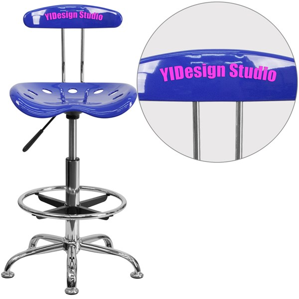 Personalized Vibrant Chrome Tractor Seat Drafting Stool FLF-LF-215-TXTEMB-GG-BS-VAR