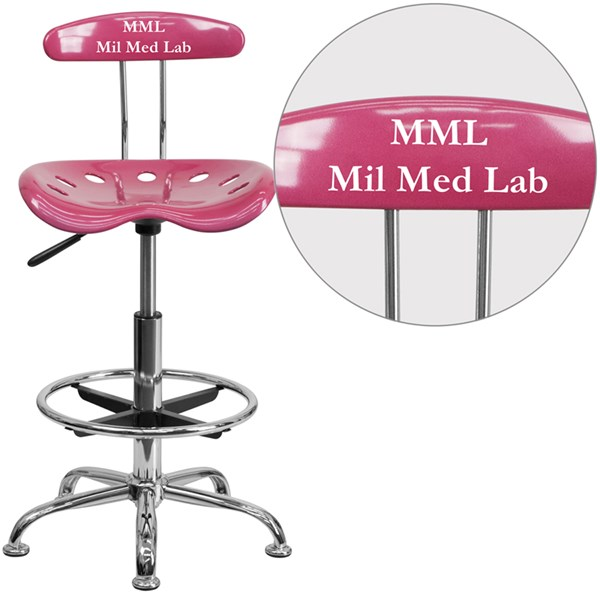 Personalized Vibrant Pink & Chrome Drafting Stool w/Tractor Seat FLF-LF-215-PINK-TXTEMB-VYL-GG
