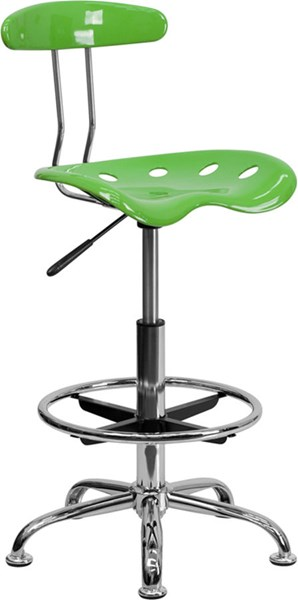 Flash Furniture Vibrant Spicy Lime Chrome Drafting Stool FLF-LF-215-SPICYLIME-GG
