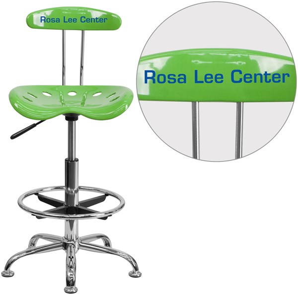 Personalized Vibrant Spicy Lime & Chrome Drafting Stool w/Tractor Seat FLF-LF-215-SPICYLIME-TXTEMB-VYL-GG