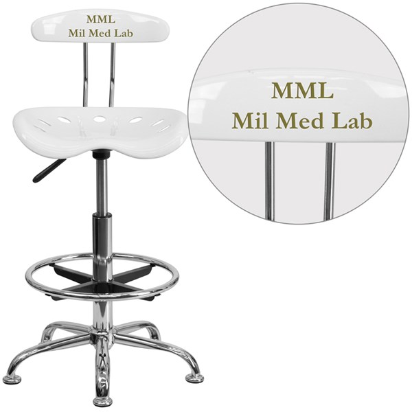 Personalized Vibrant White & Chrome Drafting Stool w/Tractor Seat FLF-LF-215-WHITE-TXTEMB-VYL-GG