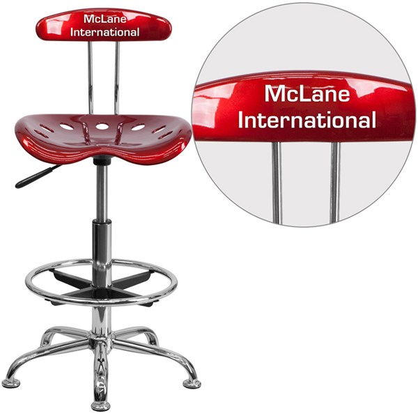 Personalized Vibrant Wine Red & Chrome Drafting Stool w/Tractor Seat FLF-LF-215-WINERED-TXTEMB-VYL-GG