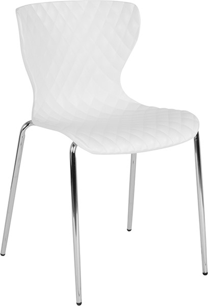 Flash Furniture Lowell White Plastic Stack Chair FLF-LF-7-07C-WH-GG