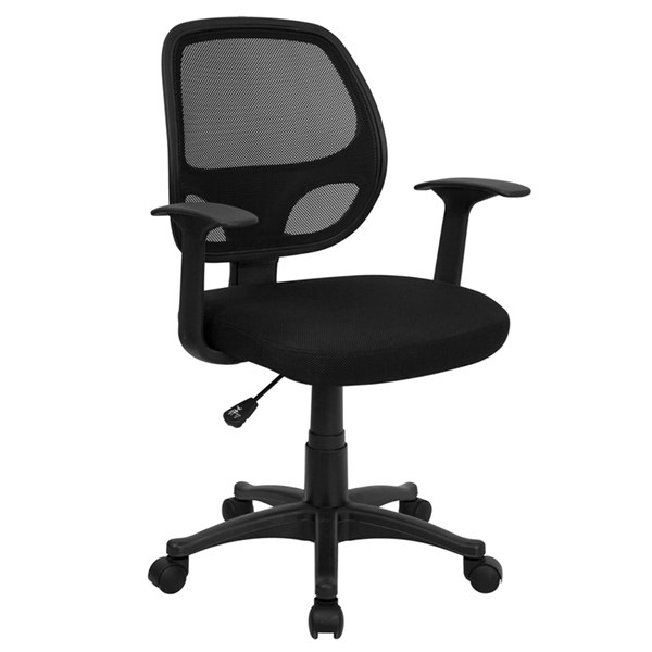 Flash Furniture Black Metal Plastic Mid Back Mesh Computer Chair FLF-LF-W-118A-BK-GG