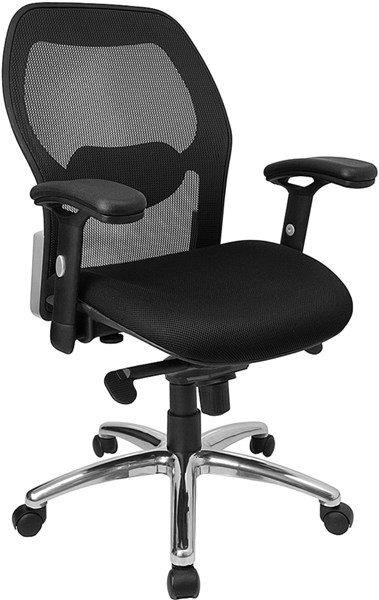 Flash Furniture Mid Back Black Fabric Super Mesh Office Chair FLF-LF-W42-GG