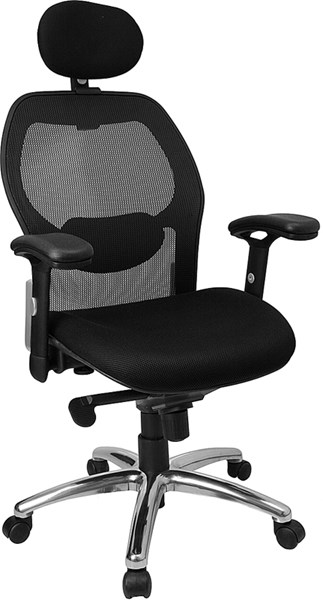Black Fabric Metal Plastic High Back Super Mesh Office Chair FLF-LF-W42-HR-GG