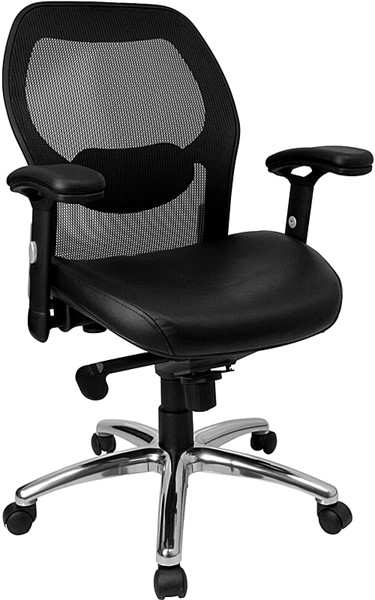 Flash Furniture Mid Back Black Leather Super Mesh Office Chair FLF-LF-W42-L-GG