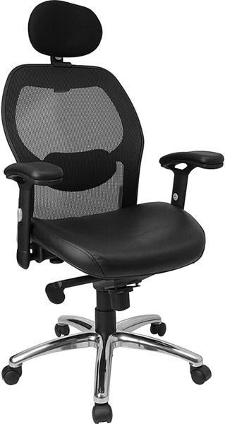 Black Chrome Leather Metal Plastic High Back Super Mesh Office Chair FLF-LF-W42-L-HR-GG