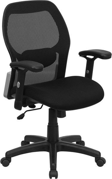 Black Foam Mesh Metal Mid-Back Office Chair FLF-LF-W42B-GG