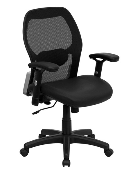 Flash Furniture Black Leather Mesh Mid Back Office Chair FLF-LF-W42B-L-GG