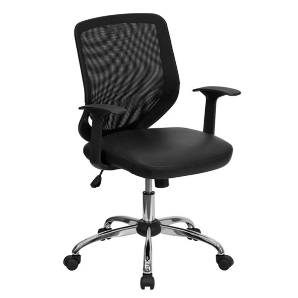 Mid-Back Black Office Chair W/Mesh Back And  Italian Leather Seat FLF-LF-W95-LEA-BK-GG