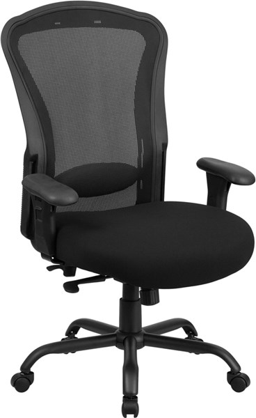 Flash Furniture Hercules Black Fabric Swivel Chair with Arms FLF-LQ-3-BK-GG