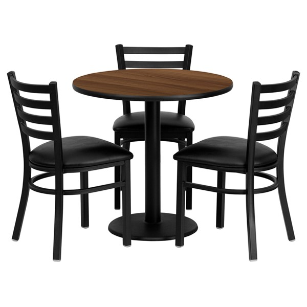 4pc Dining Set w/30 Inch Walnut Laminate Table & Black Vinyl Chair FLF-MD-0002-TR18-DR-S2