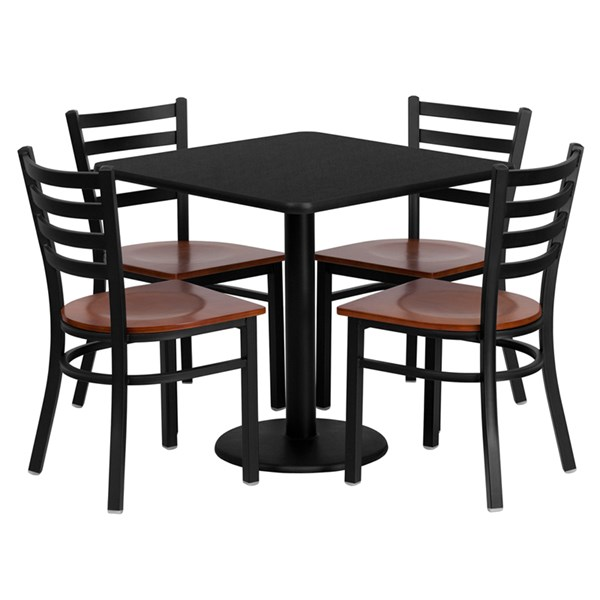5pc Dining Set w/30 Inch Black Laminate Table & Cherry Wood Seat FLF-MD-0003-TR18-DR-S3