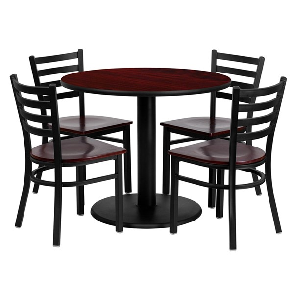5pc Round Dining Set w/36 Inch Mahogany Laminate Table & Wood Seat FLF-MD-0004-TR24-DR-S4