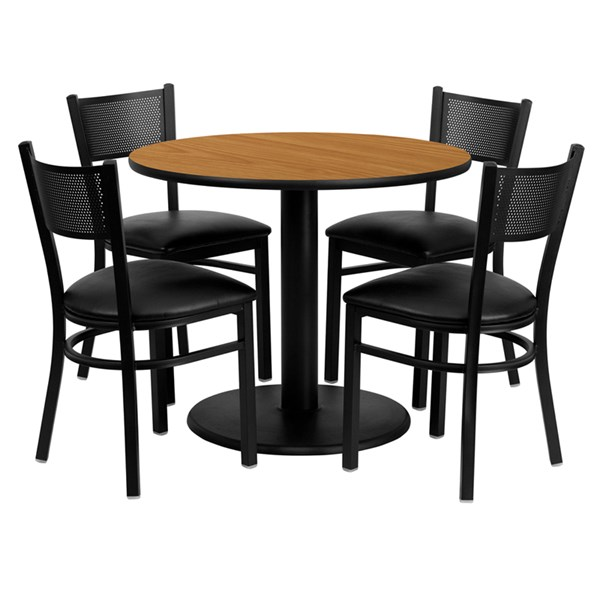 5pc Dining Set w/36 Inch Natural Laminate Table & Black Vinyl Chair FLF-MD-0006-TR24-DR-S6