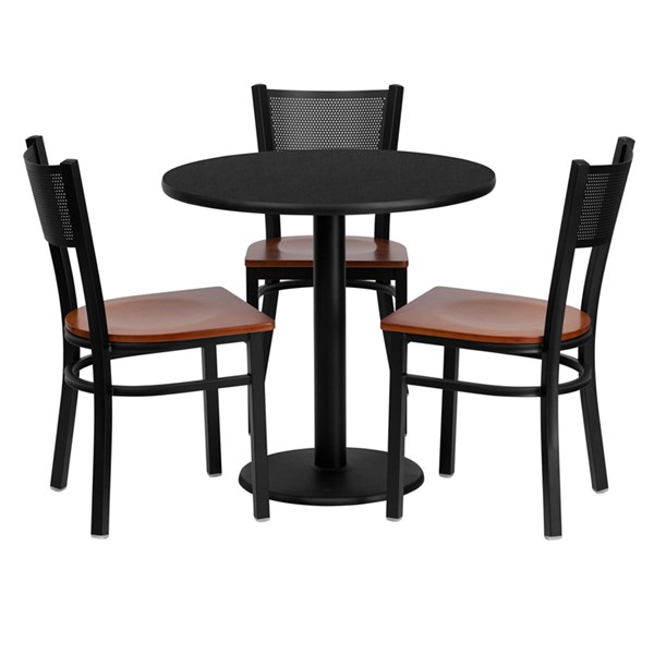 4pc Round Dining Set w/30 Inch Black Laminate Table & Cherry Wood Seat FLF-MD-0007-TR18-DR-S7