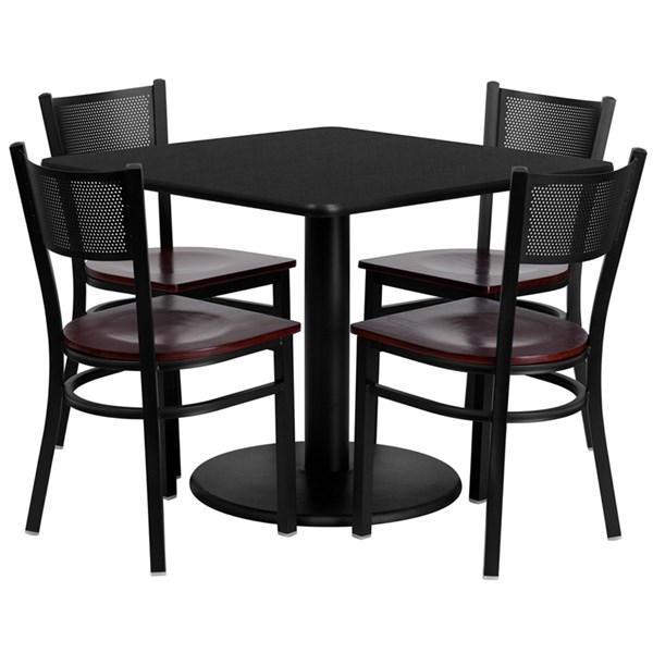5pc Dining Set w/36 Inch Black Laminate Table & Mahogany Wood Seat FLF-MD-0008-TR24-DR-S8