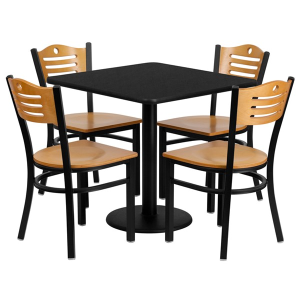 5pc Dining Set w/30 Inch Black Laminate Table & Natural Wood Seat FLF-MD-0010-TR18-DR-S10