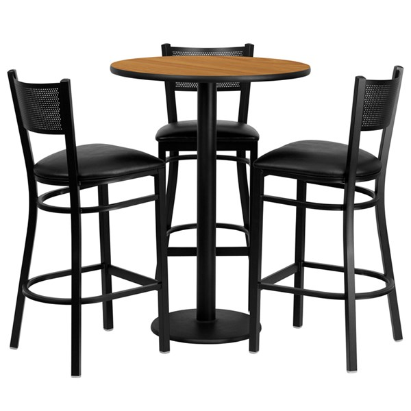 4pc Bar Set w/30 Inch Natural Laminate Table & Black Vinyl Stools FLF-MD-0016-TR18B-BAR-S16