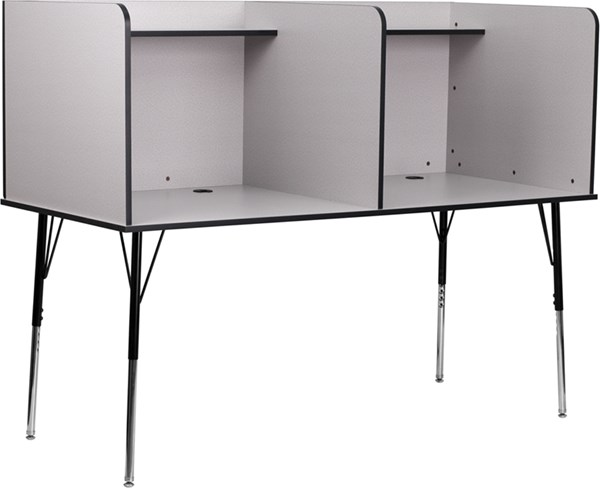 Flash Furniture Grey Double Wide Study Carrel with Adjustable Legs and Top Shelf FLF-MT-M6222-GRY-DBL-GG