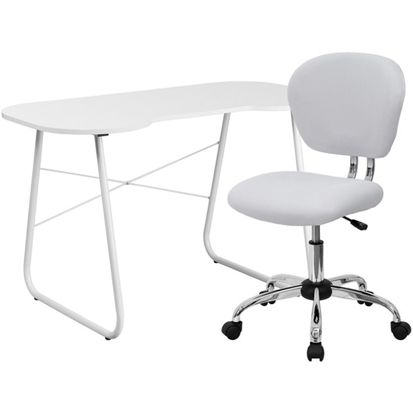 Contemporary Chrome Metal Plastic Computer Desk And Chair Sets FLF-NAN-GG-HOF-VAR