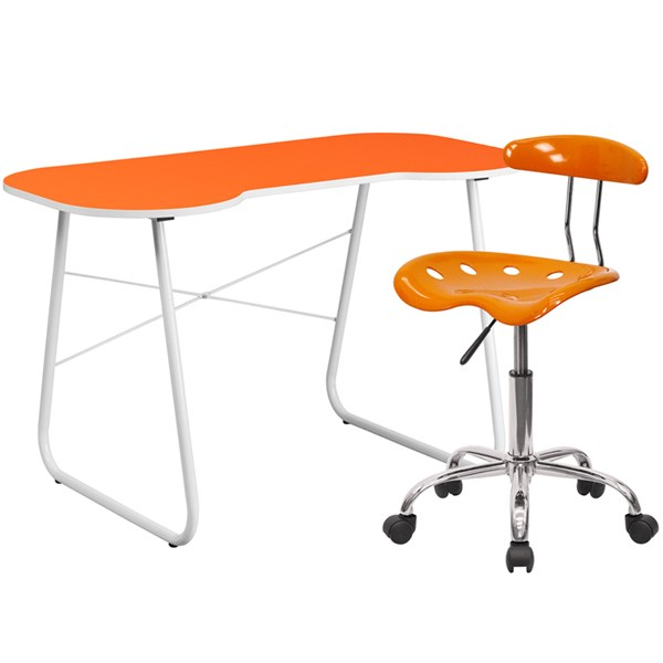 Orange Cross Brace Computer Desk with Tractor Swivel Chair FLF-NAN-JN-2360-LF-214-HOF-S14