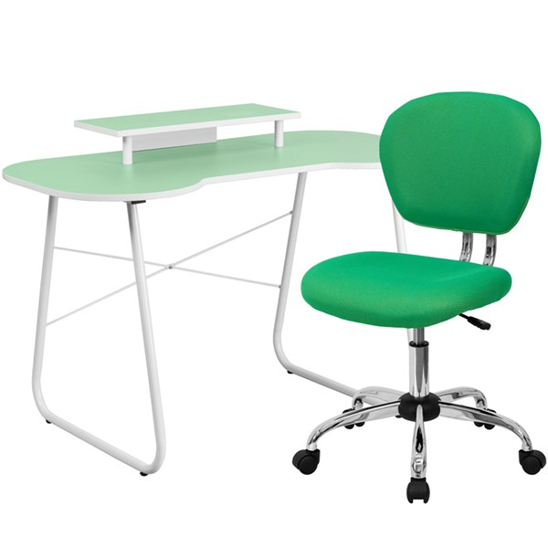 Green Computer Desk with Monitor Platform and Mid-Back Mesh Chair FLF-NAN-JN-2360-MT-H-2376-F-HOF-S4