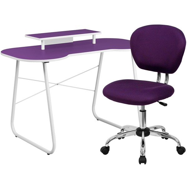 Purple Computer Desk with Monitor Platform and Mid-Back Mesh Chair FLF-NAN-JN-2360-MT-H-2376-F-HOF-S5