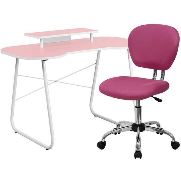 Pink Computer Desk with Monitor Platform and Mid-Back Mesh Chair FLF-NAN-JN-2360-MT-H-2376-F-HOF-S7