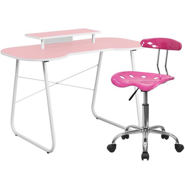 Pink Cross Brace Computer Desk w/Monitor Platform and Tractor Chair FLF-NAN-JN-2360-MT-LF-214-HOF-S7