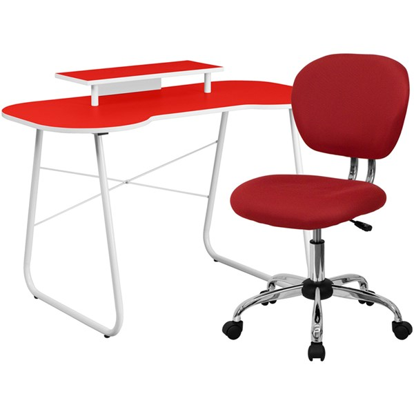 Red Computer Desk with Monitor Platform and Mid-Back Mesh Chair FLF-NAN-JN-2360-MT-H-2376-F-HOF-S8