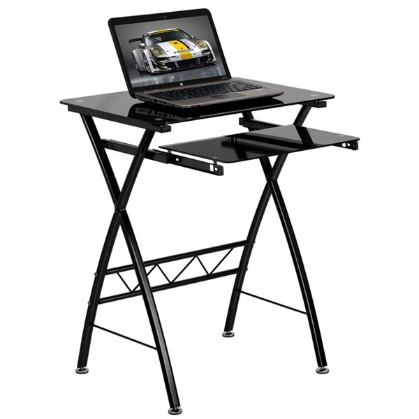 Flash Furniture Black Tempered Glass Computer Desk with Pull-Out Keyboard FLF-NAN-CP-60-GG