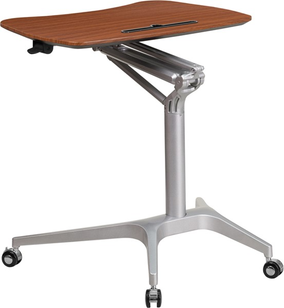 Flash Furniture Mahogany Mobile Sit Stand Desk FLF-NAN-IP-10-GG