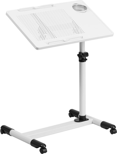 Flash Furniture White Adjustable Height Steel Mobile Computer Desk FLF-NAN-JG-06B-WH-GG