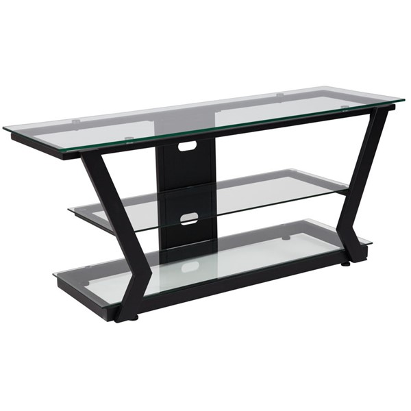 Flash Furniture Harbor Hills Black Glass TV Stand FLF-NAN-JH-1760-GG