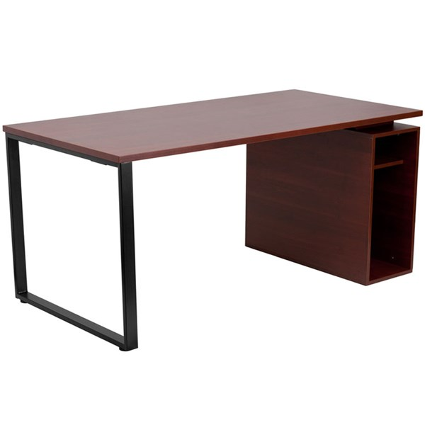 Flash Furniture Mahogany Computer Desk with Open Storage Pedestal FLF-NAN-JN-2108-GG