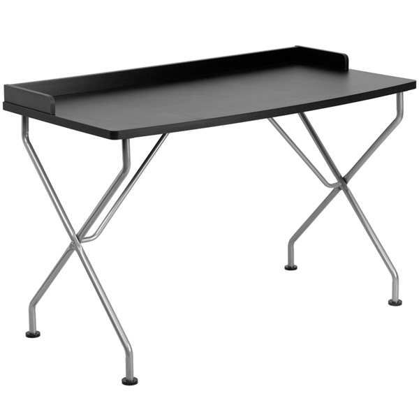 Flash Furniture Black Laminate Metal Computer Desk with Silver Frame FLF-NAN-JN-2116-BK-GG