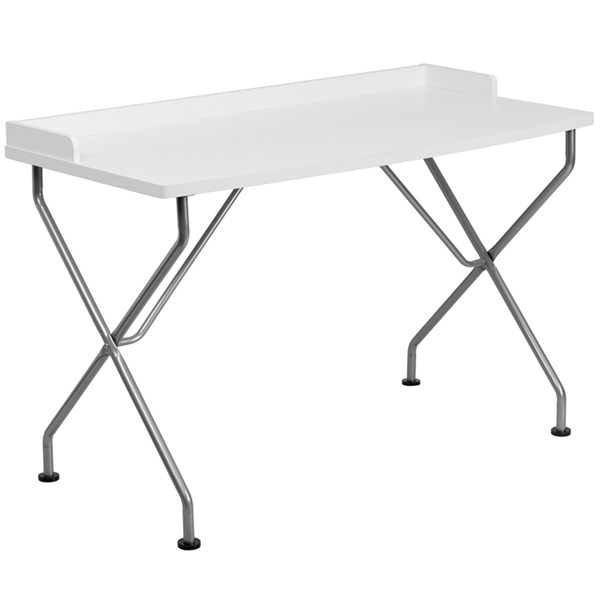 Flash Furniture White Laminate Metal Computer Desk with Silver Frame FLF-NAN-JN-2116-WH-GG