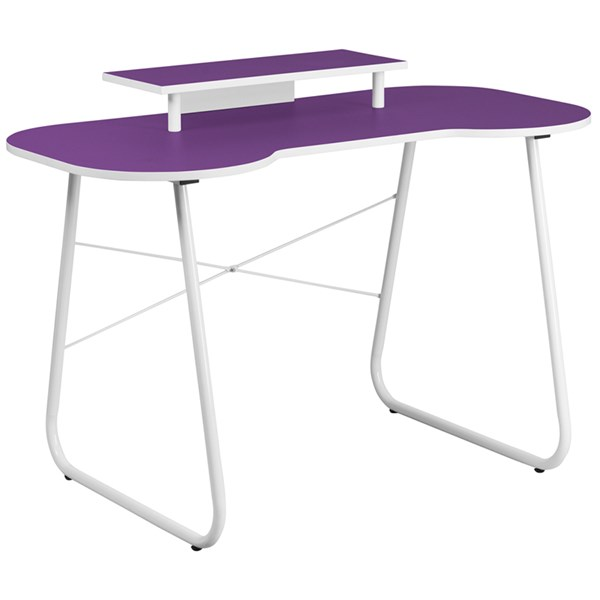 Purple Computer Desk with Monitor Platform and White Frame FLF-NAN-JN-2360-MT-PU-GG