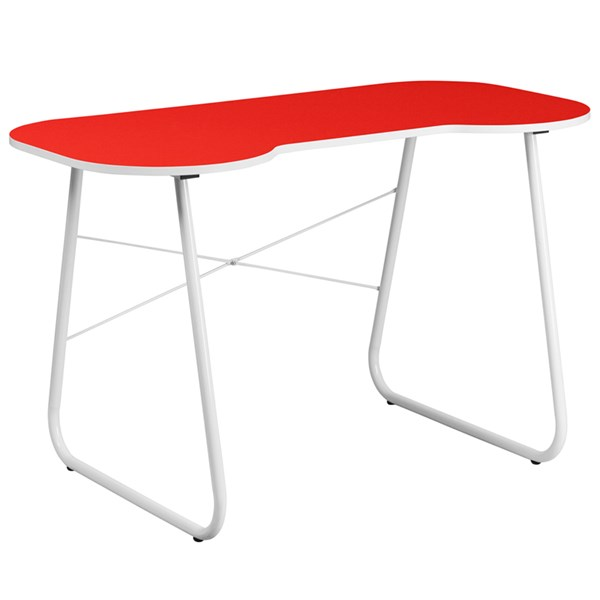 Contemporary Red Metal Plastic Computer Desk With White Frame FLF-NAN-JN-2360-RED-GG