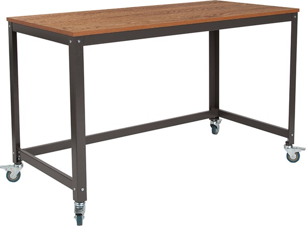 Flash Furniture Livingston Brown Oak Mobile Computer Desk FLF-NAN-JN-2522D-GG