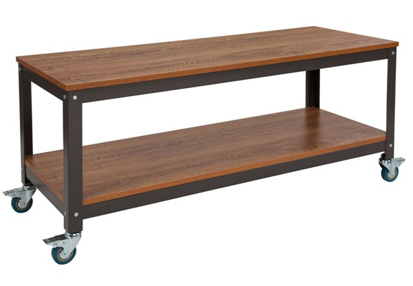 Flash Furniture Livingston Brown Oak TV Stand with Casters FLF-NAN-JN-2522TR-GG