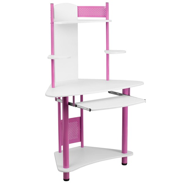 Flash Furniture Pink White Laminate Corner Computer Desk with Hutch FLF-NAN-JN-2705-PK-GG