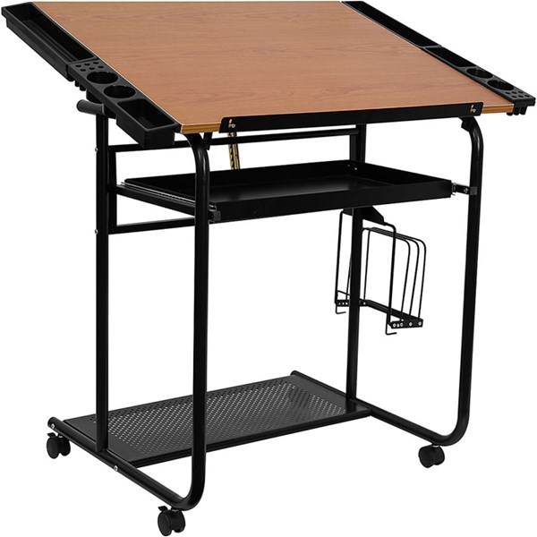 Adjustable Drawing & Drafting Table w/Black Frame & Dual Wheel Casters FLF-NAN-JN-2739-GG