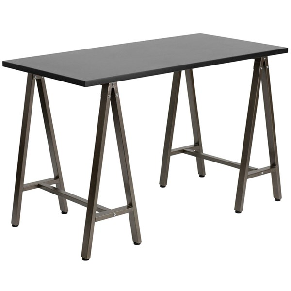 Flash Furniture Black Laminate Computer Desk with Brown Frame FLF-NAN-JN-2834W-BK-GG