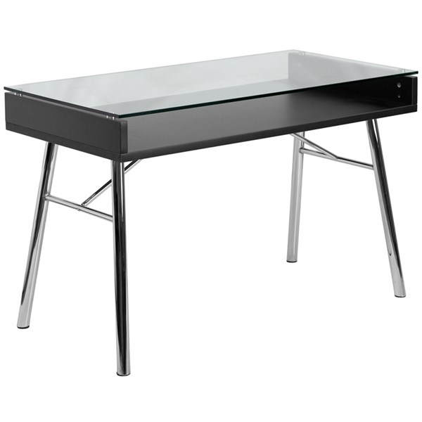 Flash Furniture Brettford Desk with Tempered Glass Top FLF-NAN-JN-2966-GG