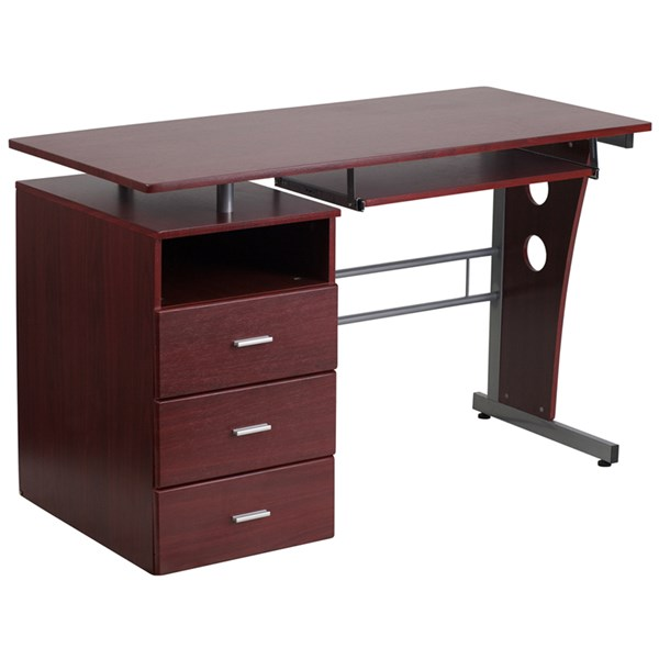 Flash Furniture Mahogany Desk with Three Drawer Pedestal and Pull-Out Keyboard Tray FLF-NAN-WK-008-GG