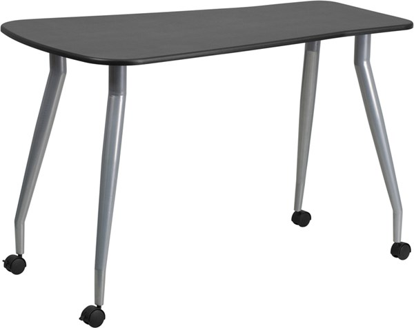 Flash Furniture Mobile Black Laminate Metal Plastic Computer Desk FLF-NAN-WK-010-GG